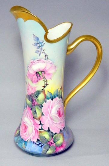Vintage O&EG Royal Austria Hand Painted and Signed Pitcher