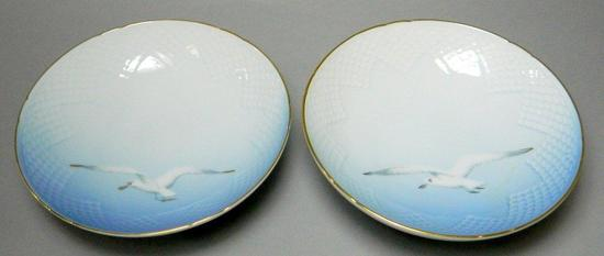 Pair of Bing & Grondahl Copenhagen Footed Bowl with Seagull