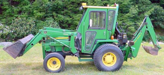 1996 John Deere 955 4x4 Tractor, Only 485 Hrs, Bucket, Backhoe and Cab