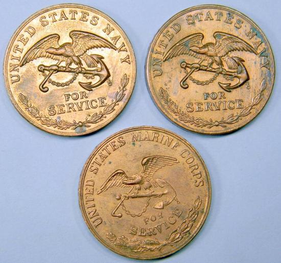 (3) USN Navy USMC Marine Campaign Medals