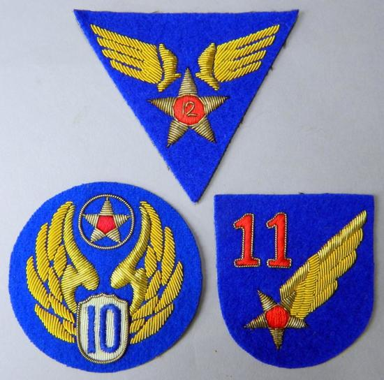 USAAF WWII 10th, 11th, 12th Army Air Force Bullion Shoulder Patches