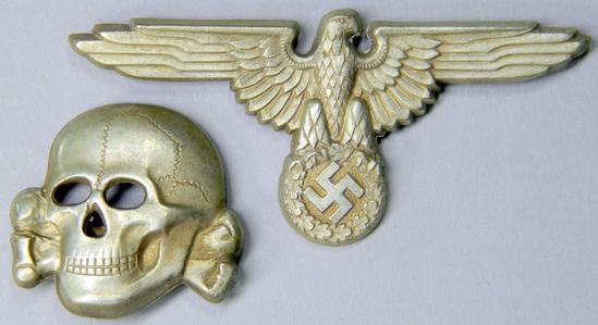 WW2 Waffen SS Officers Visor Cap Eagle & Skull