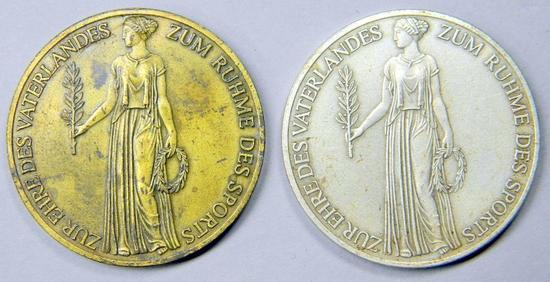 Two (2) Bronze 1936 Berlin Olympics Goddess Table Medals, German WWII