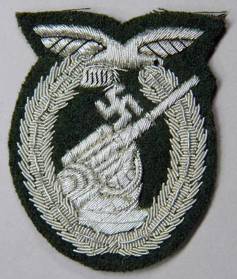 Luftwaffe Flak Artillery Badge in Bullion Wire, German WWII