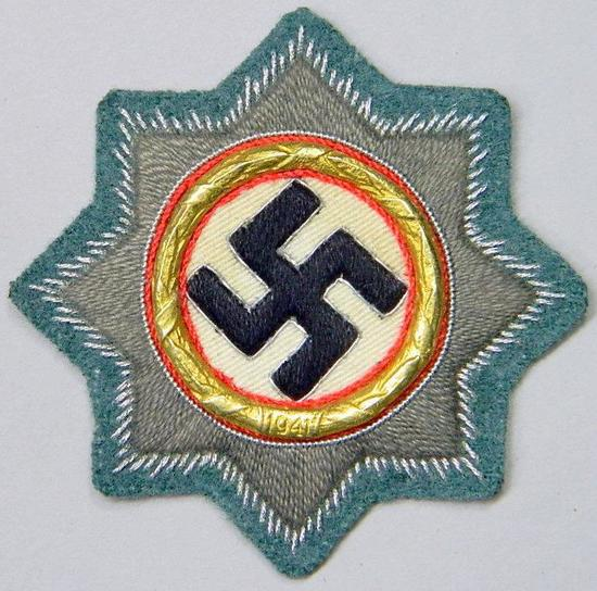 Waffen SS / Army Panzer Cloth German Cross in Gold, German WWII