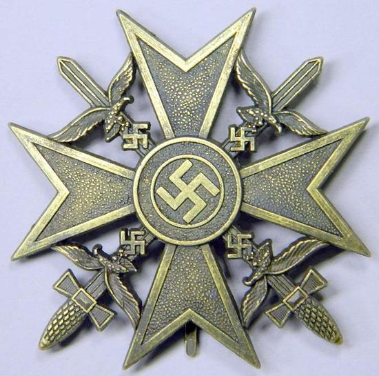 Luftwaffe Bronze Spanish Cross with Swords, German WWII