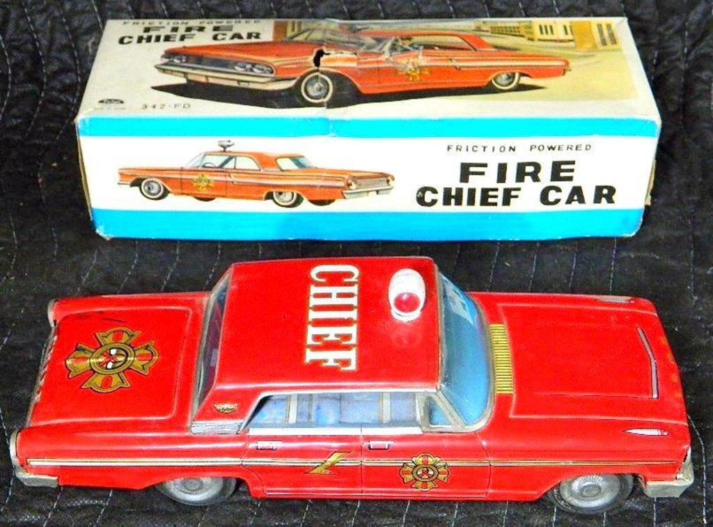 Taiyo Fire Chief Car Tin Friction Toy, Original Box