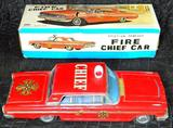 Taiyo Fire Chief Car Tin Friction Toy, Original Box