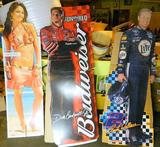 Three Life Size Cardboard Cutout Figures, Nascar and Bud Light