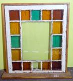 Framed Antique Stained Glass Window