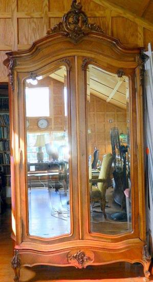 French Rococo Mirrored Armoire
