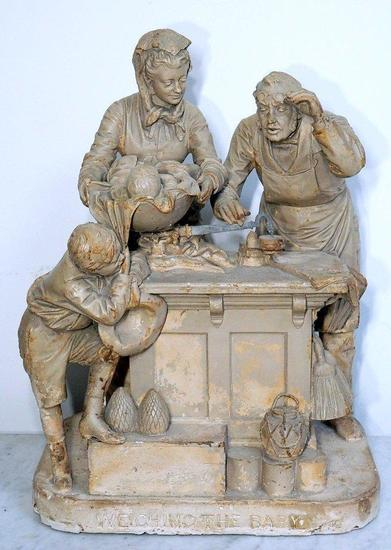 """John Rogers """"Weighing the Baby"""" Sculpture, 1876"""