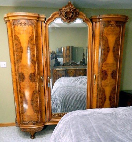 Italian Burled Walnut Five-Piece Bedroom Set