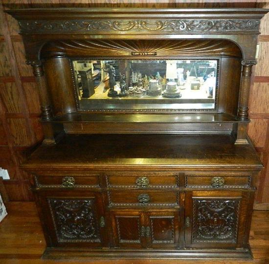 Antique Mirrored Oak Tiered Buffet Server or Bar Back