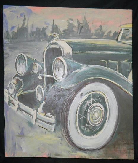 Grand Original O/C Painting of Packard Automobile