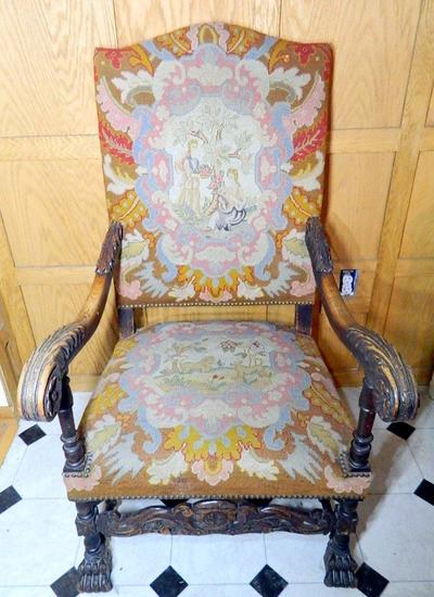 Victorian Needlepoint Scenes Armchair, Two Women, Dog and Lion