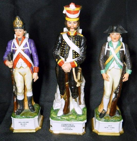 Grouping of Three (3) Military Historical Figure Decanters, Royal Crown and Grenadier