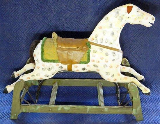 Child's Antique Rocking Horse on Wooden Frame