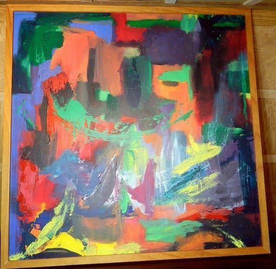 Original Hand-painted Abstract O/C Artwork, Framed