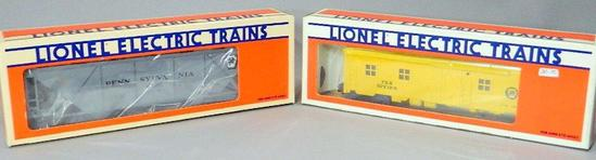 Lionel Electric Trains PRR Covered Hopper and Illuminated Bunk Cars