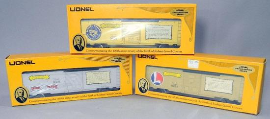 Joshua Lionel Cowen Pre War, Post War, and Golden Years Limited Edition Series Box Cars