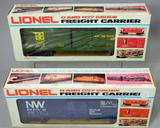 Lionel O and 027 Gauge Freight Carrier Box Cars