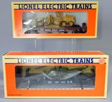 Lionel Electric Trains Flatcars with ERTL Road Grader and ERTL Helicopter