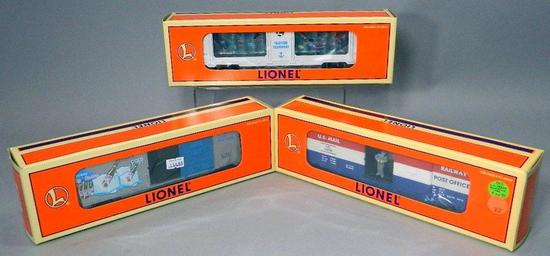 Lionel Cola Ice Car, Animated Mermaid Transport, and U.S. Mail Train Cars