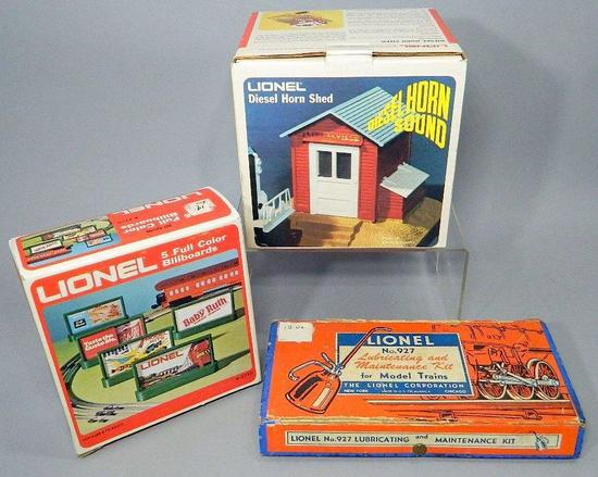 Lionel Accessories: Diesel Horn Shed, Lubricating and Maintenance Kit, Five Full Color Billboards