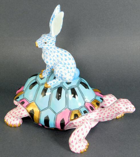 Herend Porcelain Tortoise and Hare Figurine