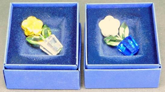 Grouping of Two Swarovski Crystal Potted Flower Miniatures with Boxes