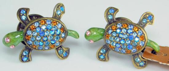 Grouping of Two Jay Strongwater Swarovski Crystal Turtle Pins