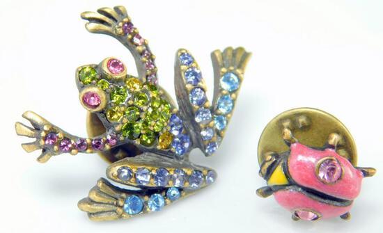 Jay Strongwater Frog and Ladybug Swarovski Crystal Pins