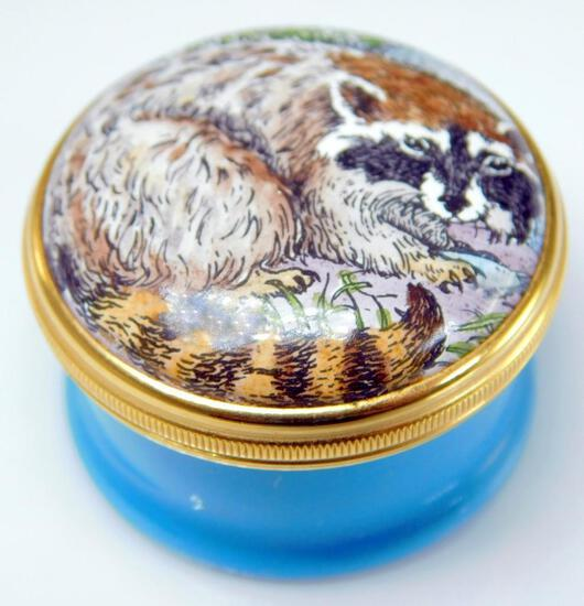 Halcyon Days Enamels Raccoon and Trout Lidded Round Trinket Box