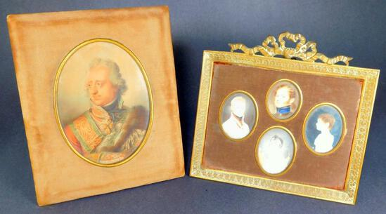 Grouping of Two Antique Portrait Paintings, Framed