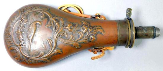 Copper Powder Flask with Pheasant Design