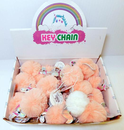 18 Fuzzy Unicorn Key Chains, New