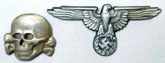 Waffen SS Officers Visor Cap Eagle & Skull