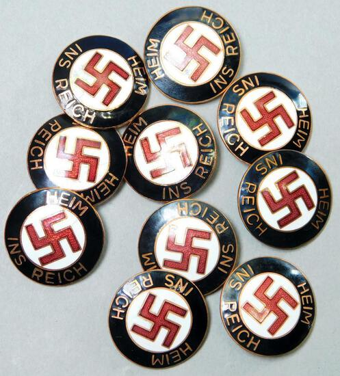 (10) WWII Heim Ins Reich Enameled Swastika Party Badges