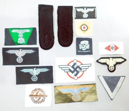 (13) German WW2 Waffen SS / Army Cloth Insignia Grouping