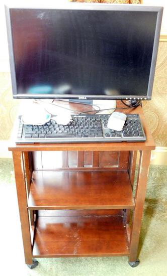 Wooden Table with Bookshelves and DELL Monitor, Keyboard and Speakers