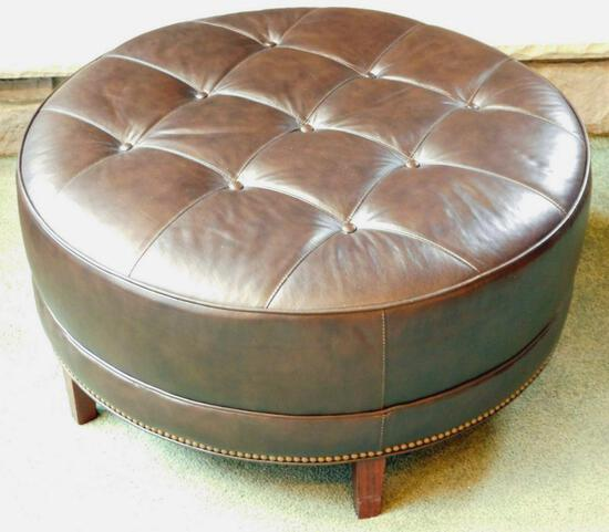 Ethan Allen Round Tufted Brown Leather Ottoman