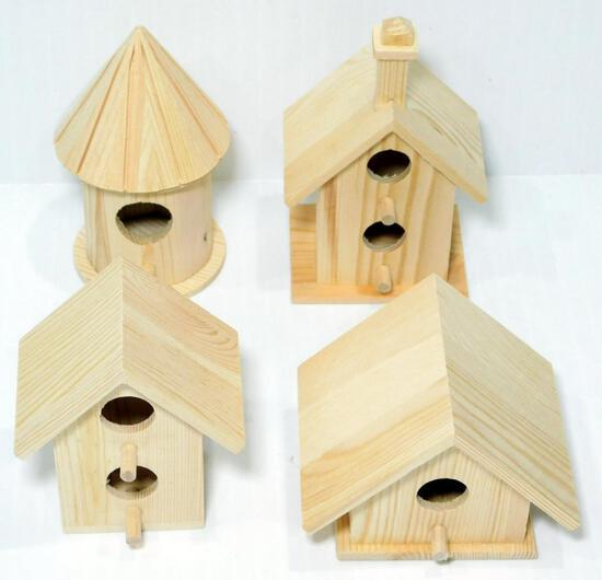 Small Wood Craft Birdhouses, 97 Units