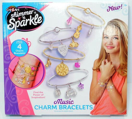 CraZArt Shimmer N' Sparkle Music Charm Bracelets, 10 Units