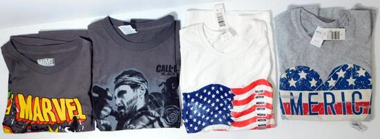 New Adult Marvel, America and Assorted Licensed T-Shirts, 55 Units