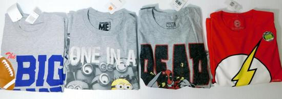 New Adult Dead Pool, Despicable Me, and Assorted Licensed T-Shirts, 43 Units