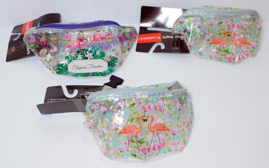 Flamingo Fanny Packs Assorted, 18 Units