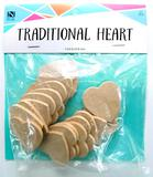 Wooden Traditional Heart-Shaped Pieces, 30 Units