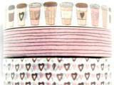 10mm Coffee Love Theme Washi Tape, Tub Full