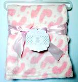 'My Baby' Super Soft Plush Pink Hearts Blanket, 12 Units